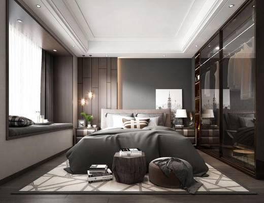 床具, 吊灯, 台灯, 挂画, 装饰品, 地毯, 床头柜, 窗帘