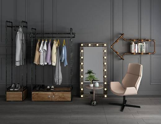 工業風衣架, 單椅, 衣架, 擺件組合