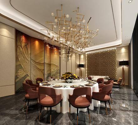新中式酒店包间包厢, 包厢, 包间, 餐厅, 新中式餐厅, 餐桌椅, 吊灯, 屏风
