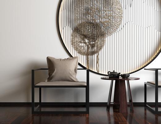 中式, 单椅, 墙饰, 茶几