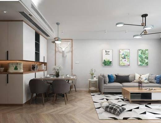 客厅, 餐厅, 北欧客餐厅, 沙发组合, 茶几, 摆件, 桌椅组合, 吊灯, 摆件组合
