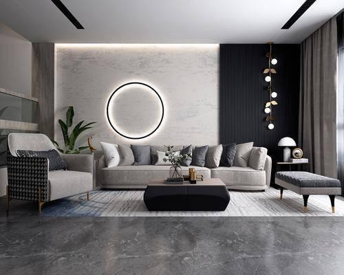 沙發組合, 多人沙發, 茶幾, 躺椅, 盆栽, 單人沙發, 吊燈, 擺件, 裝飾品, 陳設品, 后現代