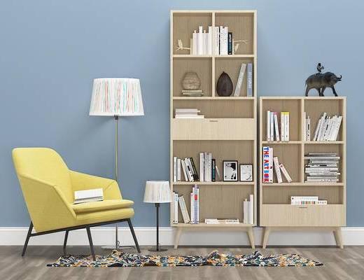 现代装饰柜, 书架, 休闲椅, 摆件, 落地灯, 书本