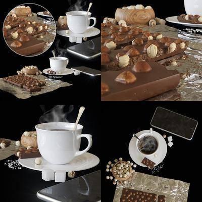 现代, 食物, 茶杯, 饮品, 摆件, 甜品
