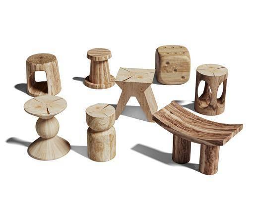 北欧, 实木, 凳子, 单体