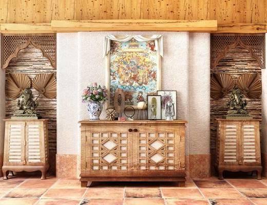 东南亚边柜组合, 边柜, 摆件, 盆栽, 挂画, 东南亚