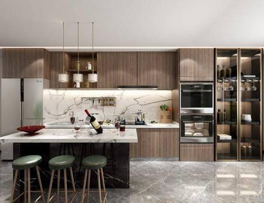 櫥柜組合, 吧臺, 單椅, 吊燈, 廚具組合
