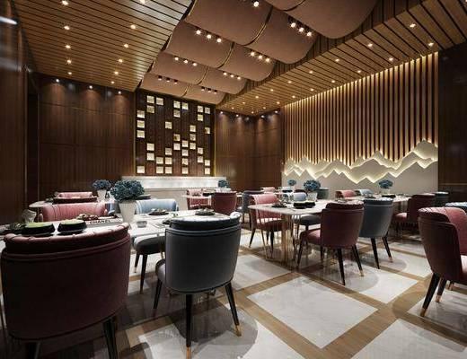 餐厅, 桌椅组合, 餐桌, 餐椅, 单人椅, 餐具, 现代
