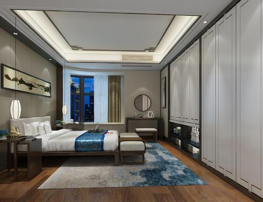 卧室, 新中式, 中式, 中式卧室, 床, 床头柜, 梳妆台