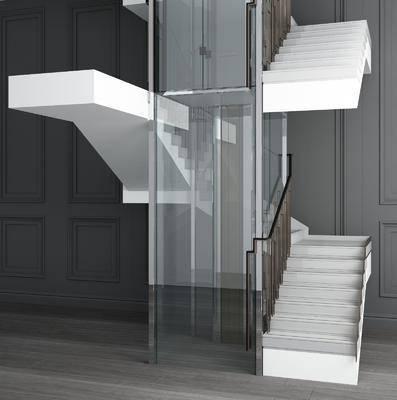 观光电梯, 楼梯组合, 现代