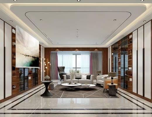 沙发, 书柜, 茶几, 落地灯, 摆件组合, 花瓶, 单椅
