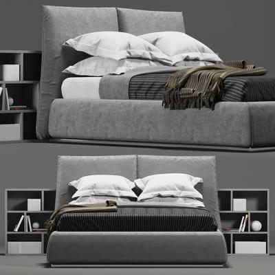 双人床, 床头柜, 现代双人床床头柜组合, 现代