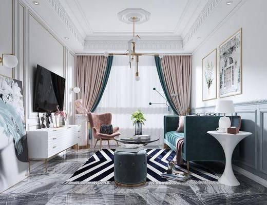 电视柜, 吊灯, 台灯, 装饰画, 地毯, 客厅, 沙发组合, 挂画