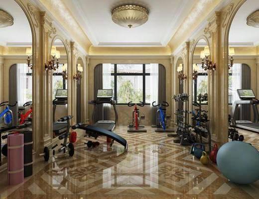 家庭健身房, 健身器材, 瑜伽球, 吊灯, 欧式