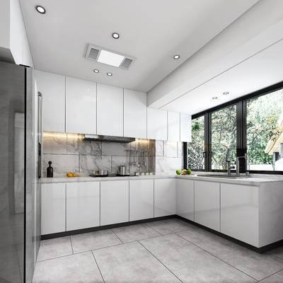 厨房, 橱柜, 冰箱, 摆件, 现代, 厨柜, 厨具