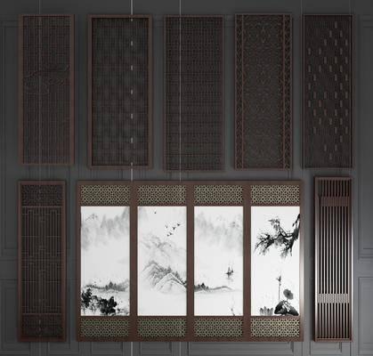 实木雕花, 屏风隔断, 木质屏风, 栅格屏风, 花格屏风, 折叠屏风, 新中式