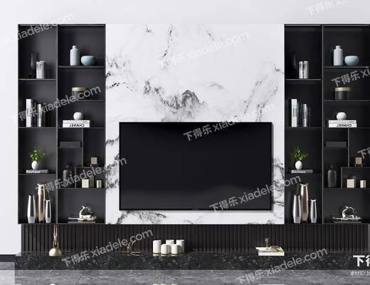 电视柜, 背景墙, 电视背景墙, 现代电视柜背景墙, 摆件组合