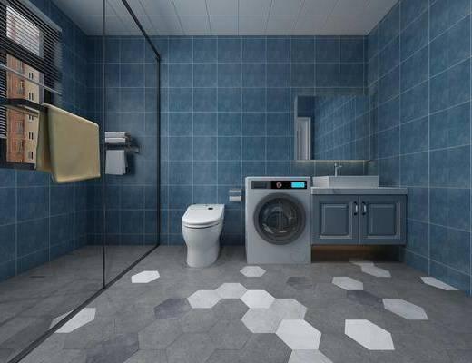 衛生間, 洗手臺組合, 馬桶, 現代