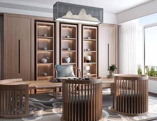 新中式, 茶室, 椅子, 休闲椅, 茶桌, 吊灯