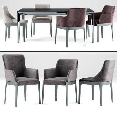 餐桌, 桌子, 椅子, 休闲椅, 现代