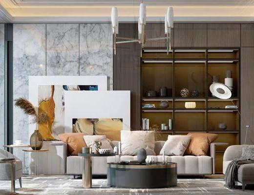 后现代沙发, 沙发组合, 后现代单椅, 现代吊灯, 轻奢茶几