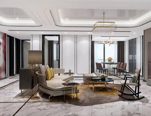 客厅, 多人沙发, 圆弧沙发, 茶几, 单人椅, 脚踏沙发, 落地灯, 电视柜, 装饰柜, 边柜, 装饰架, 吊灯, 餐桌, 餐椅, 摆件, 装饰品, 陈设品, 现代