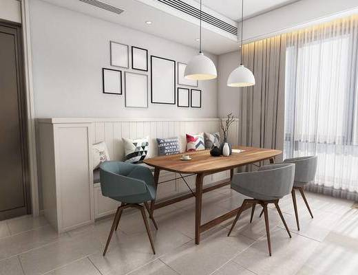 北欧, 餐桌, 椅子, 边几, 吊灯, 装饰画, 抱枕, 卡座, 摆件, 装饰品