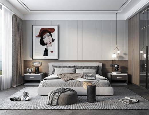 现代卧室, 双人床, 床头柜, 挂画, 吊灯