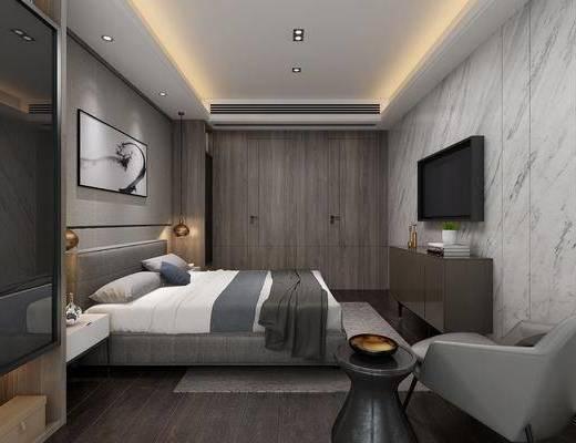 卧室, 双人床, 单人沙发, 装饰画, 挂画, 电视柜, 装饰柜, 吊灯, 摆件, 装饰品, 陈设品, 现代