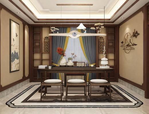 茶室, 新中式茶室, 桌椅组合, 摆件组合, 茶具