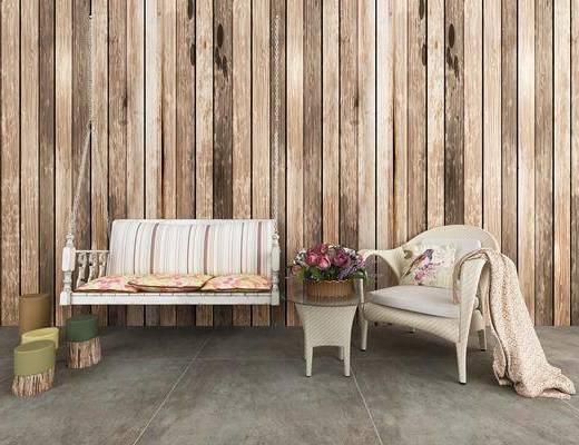 摇椅, 单人沙发, 茶几, 摆件, 现代
