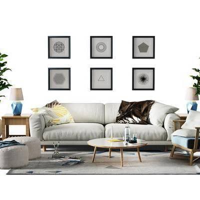 多人沙发, 单人沙发, 布艺沙发, 茶几, 摆件, 绿植, 装饰画, 台灯, 现代