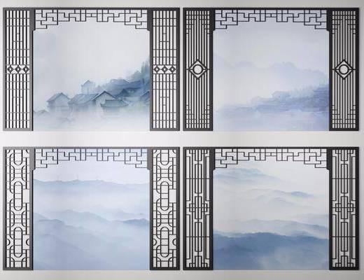 屏风, 花格, 新中式屏风组合