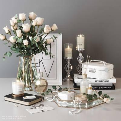 花卉, 烛台, 摆件组合, 花瓶
