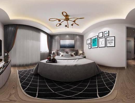卧室, 床具组合, 挂画组合, 边柜组合, 家装全景, 北欧