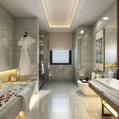 卫浴, 浴缸, 马桶, 装饰画, 洗手盆, 壁镜