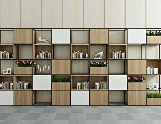 装饰柜, 书柜, 书架, 书籍, 绿植盆栽, 植物, 装饰品, 陈设品, 现代