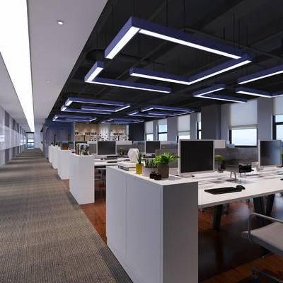 现代, 办公区, 办公室, 办公桌, 办公椅, 盆栽, 置物架