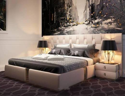 现代床, 卧室, 床头柜, 灯具