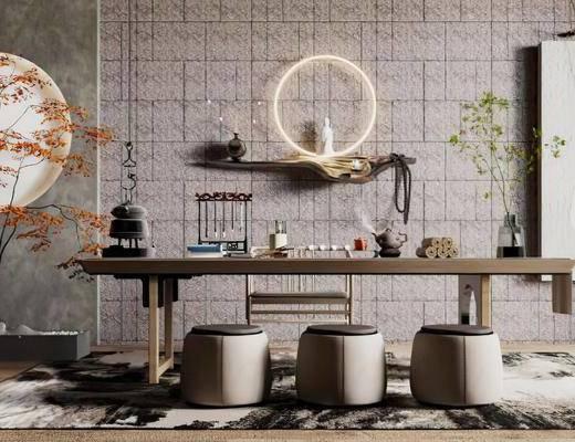 书房, 书桌, 摆件组合, 盆景, 墙饰