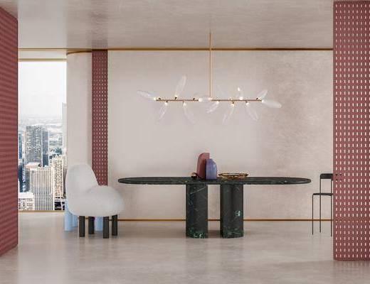 现代长条形餐桌餐椅, 餐桌椅