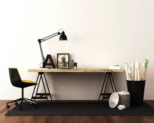 边柜, 摆件, 台灯, 单椅, 北欧