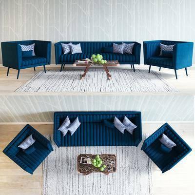 多人沙发, 单人沙发, 茶几, 现代