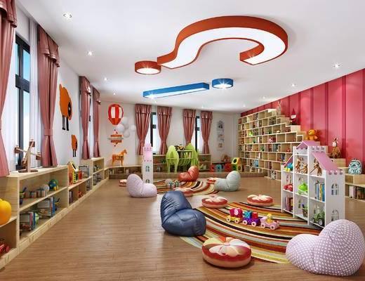幼儿园阅读室, 早教中心, 懒人垫, 书包, 书柜, 玩具, 创意吸顶灯
