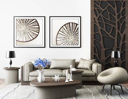 现代沙发茶几, 椅子, 台灯, 挂画, 花格, 现代
