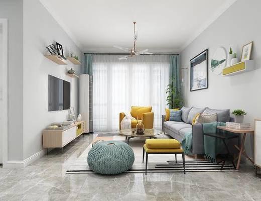 北欧客厅, 现代客厅, 客厅, 沙发组合, 北欧沙发, 沙发茶几组合
