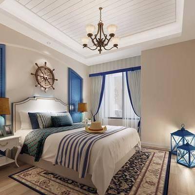 儿童房, 卧室, 地中海, 吊灯, 床头柜, 装饰灯, 床