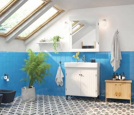 卫浴, 洗浴组合, 壁镜, 摆件组合, 盆栽植物