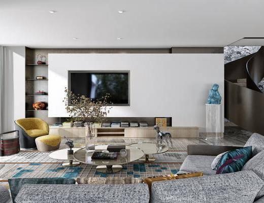 客厅, 多人沙发, 茶几, 单人沙发, 摆件, 装饰品, 陈设品, 北欧
