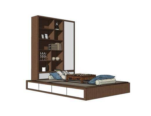 单人床, 床具组合, 置物柜